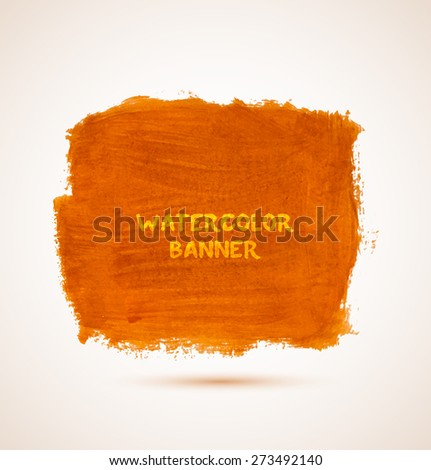 Abstract square orange watercolor hand-drawn banner. Vector illustration - stock vector
