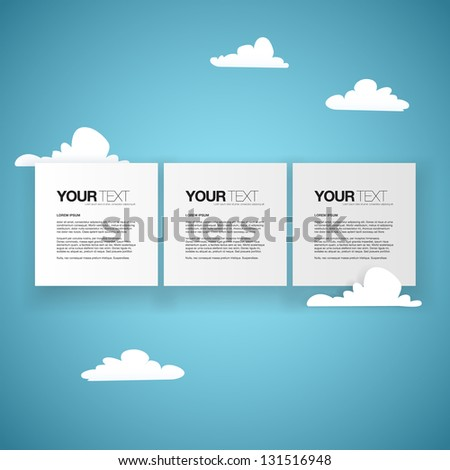 Abstract square text boxes design vector with clouds - stock vector