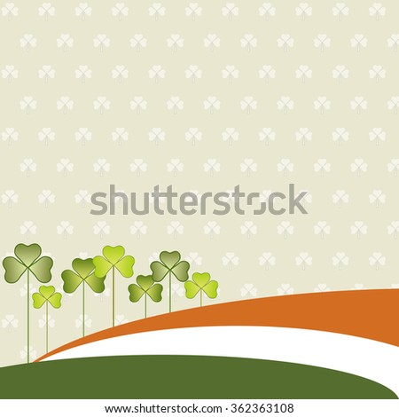 Abstract St. Patrick's Day Background, Irish Flag And Three-Leaved Shamrock - stock vector