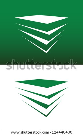 Abstract Stack of Books or Boxes Icon Vector Both Solid and Reversed. - stock vector