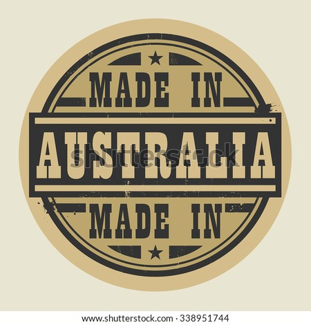 Abstract stamp or label with text Made in Australia, vector illustration