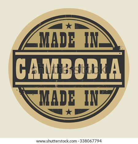 Abstract stamp or label with text Made in Cambodia, vector illustration