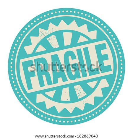 Abstract stamp or label with the text Fragile written inside, vector illustration - stock vector