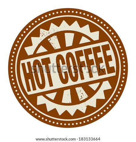 Abstract stamp or label with the text Hot Coffee written inside, vector illustration - stock vector