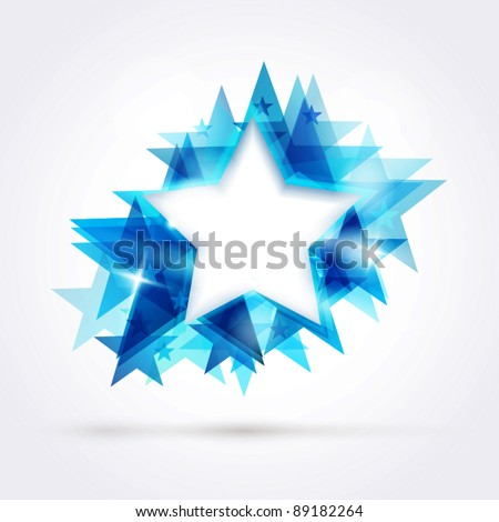 Abstract star background. Overlying star shapes in blue shades with space for your text. EPS10 - stock vector