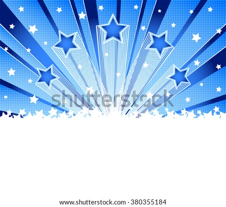 Abstract star burst background. Halftone  blue vector background. Template frame for greeting cards, invitations, gift, banners - stock vector