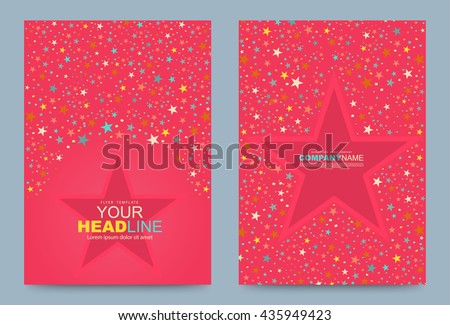 Abstract Star Colour on pink background Cover design template. Vector illustration. Use for annual report brochure flyer card, Leaflet presentation background, layout in A4 size