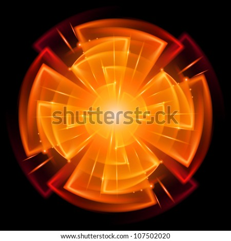 Abstract Star Explosion. Illustration on black background for design - stock vector