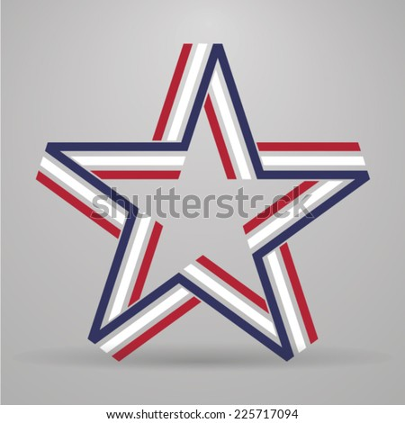 Abstract star made from ribbon - stock vector