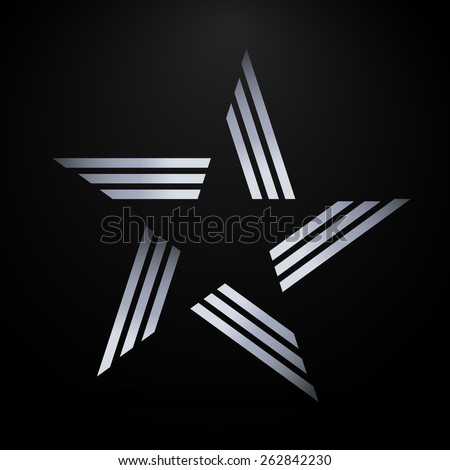 Abstract star made from silver lines - stock vector