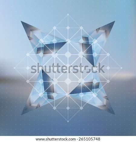 Abstract star made of isometric pyramid with the reflection of the environment and low poly triangles on blurred background. Vector multifunctional blurry backdrop. - stock vector