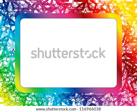 Abstract Star Spectrum Frame - Frame created with abstract star design in spectrum colors with copyspace - stock vector