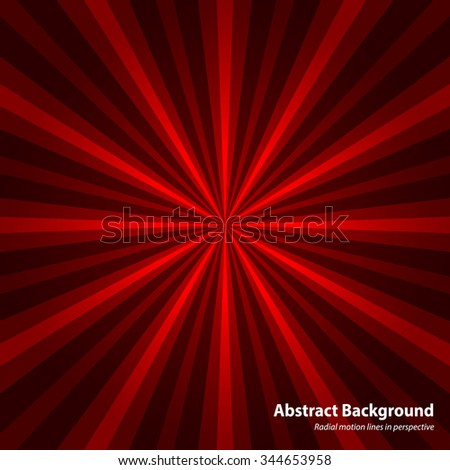 Abstract starburst red background. Cool background for holiday. Radial motion lines in perspective. Background in vector - stock vector