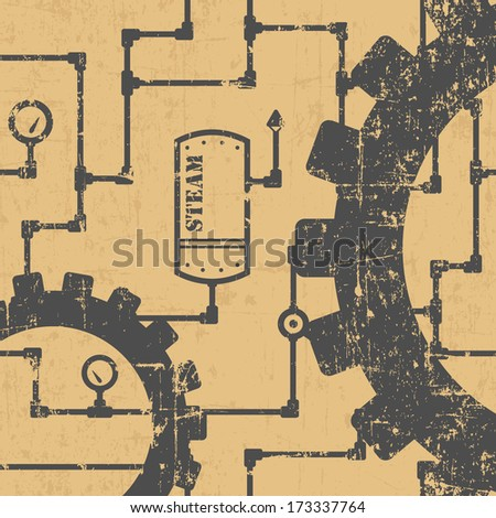 Abstract steampunk industrial pattern with pipes and gearwheels - stock vector