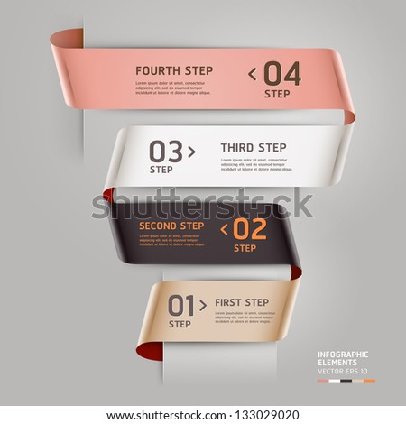 Abstract step up options ribbon style. Vector illustration. can be used for workflow layout, diagram, number options, step up options, banner, web design, infographics template.