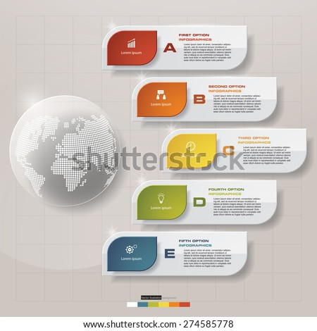 Abstract 5 steps template with global shape.Vector illustration. - stock vector