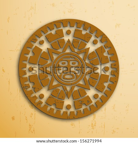 Abstract stone look maya sun symbol on beige background - stock vector