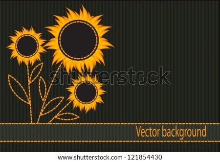 abstract striped background with dark orange flowers - stock vector