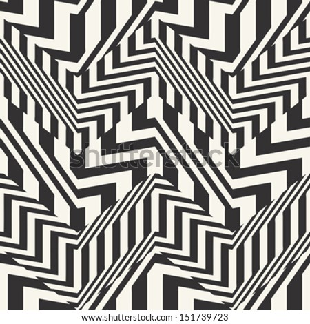 Abstract striped textured chevron optical illusion. Seamless pattern. Vector.
