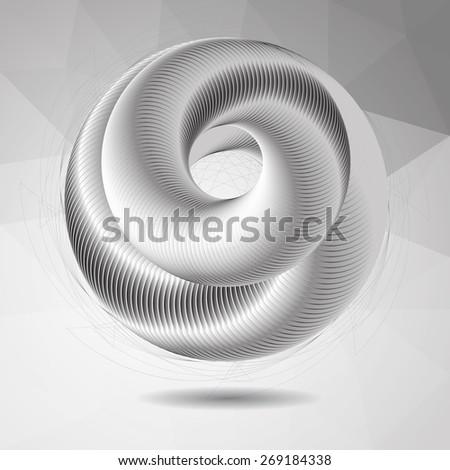 abstract stripy metallic whirl movement over polygonal background, vector illustration, optical art. - stock vector