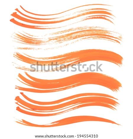 Abstract strokes long thick orange paint 1 - stock vector