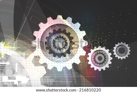 abstract strong grey gear vector computer internet technology background - stock vector