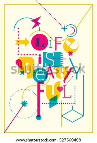 Abstract style design with typography. Vector illustration.