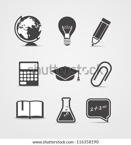Abstract style icons set. Education - stock vector