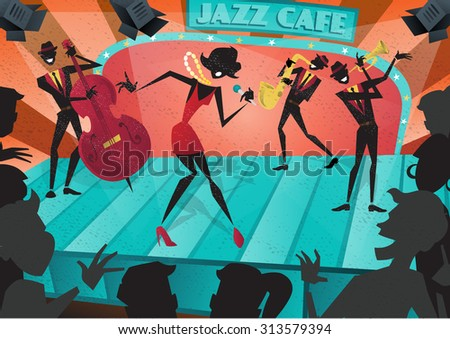 Abstract style illustration of a vibrant Jazz band and super cool lead singer who is striking a stylish pose and playing a musical performance live on stage at a busy nightlife club cafe. - stock vector