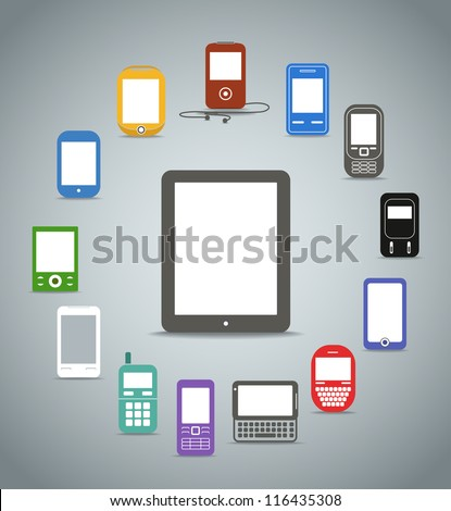 Abstract style modern and vintage mobile color phones across the compact computer - stock vector