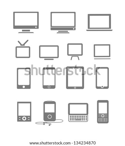 Abstract style modern and vintage mobile gadgets and monitors - stock vector