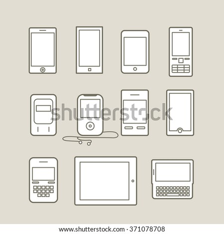 Abstract style modern and vintage mobile gadgets. Lineart collection - stock vector