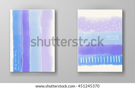 Abstract stylish background purple blue ink paint. Purple blue blot isolated on white. Grunge watercolor banner. Painting. Wallpaper with empty space for your text. Brochure set. Vector illustration. - stock vector