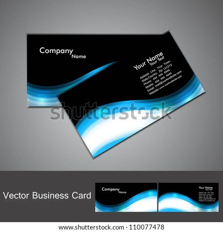 abstract stylish black bright colorful business card wave vector - stock vector