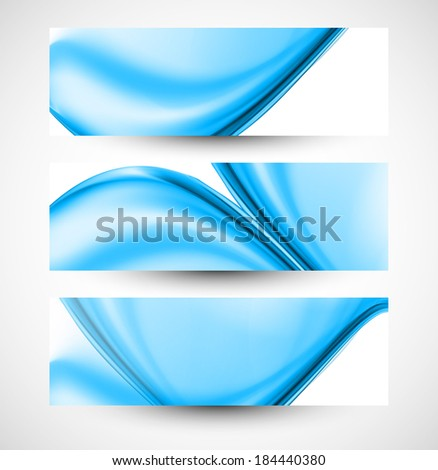 Abstract stylish blue wave three  header set whit vector background - stock vector