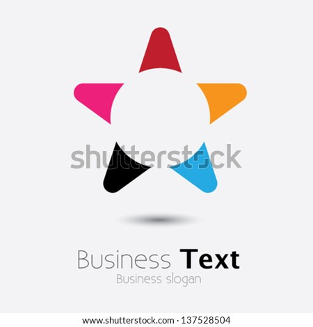 Abstract stylish colorful star icon or symbol- vector graphic. This vivid and vibrant colors include orange, red, blue, pink and black - stock vector