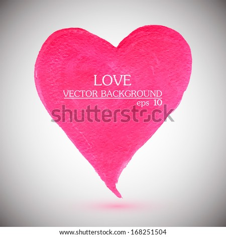 Abstract stylish pink heart, acrylic paint. Vector illustration