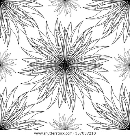 Abstract, stylized floral pattern. Simple, vector, seamless background with flowers. Black and white ornament.