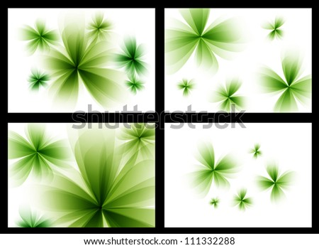 Abstract stylized green vector flowers set. - stock vector
