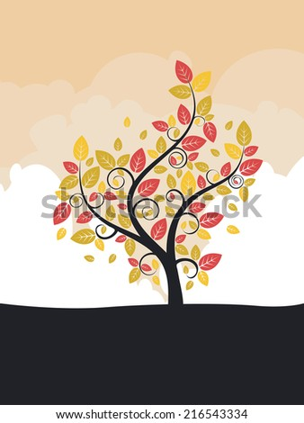 Abstract stylized tree with colorful leaves for season of autumn.