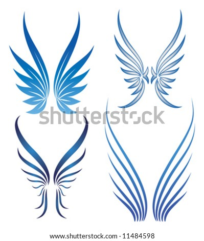 abstract stylized vector wings set