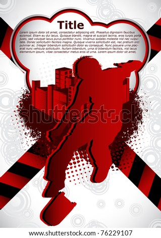 Abstract summer background with with skateboarder silhouette - stock vector