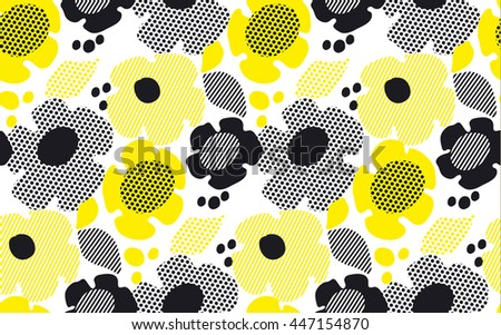 abstract summer floral seamless pattern in black and yellow colors. vector illustration - stock vector