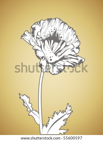 abstract summer flower - hand drawn vector
