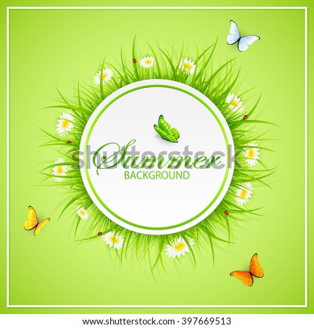 Abstract summer green background with round card, grass, ladybugs and flying butterflies, illustration.