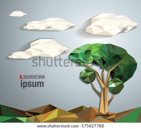 abstract summer low polygon vector illustration - stock vector