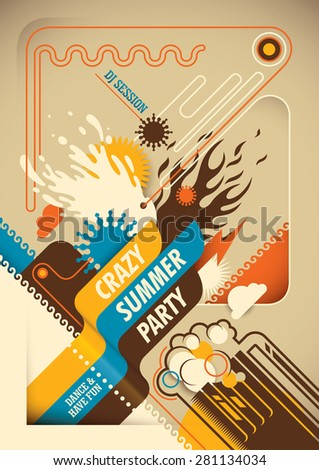 Abstract summer party poster. Vector illustration. - stock vector
