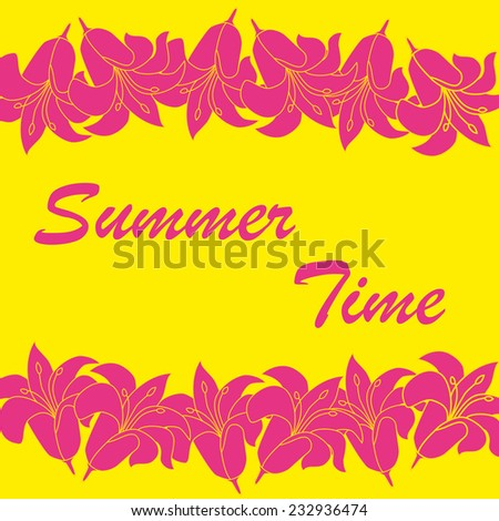 Abstract summer time background with flower frame. Vector illustration.