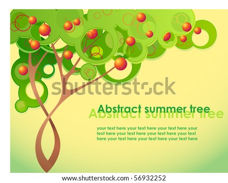 Abstract summer tree with fruits - stock vector