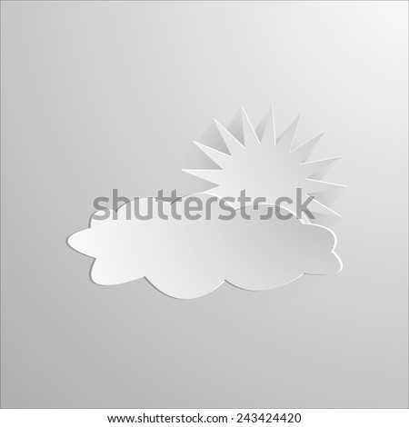Abstract sun and cloud cut out of paper on a paper background Vector illustration - stock vector